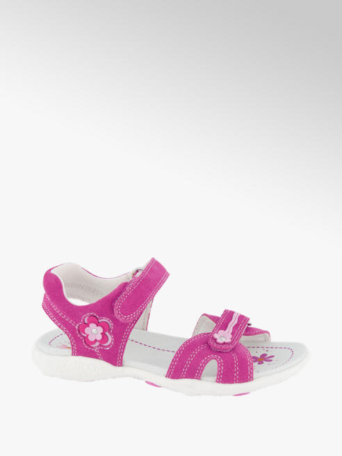 Graceland Ružové kožené sandále na suchý zips Graceland