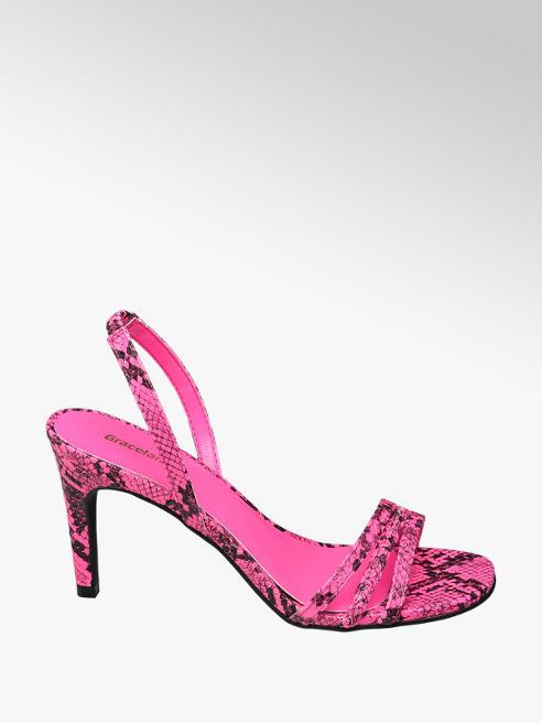 Graceland Ružové sandále na podpätku Graceland so zvieracím vzorom