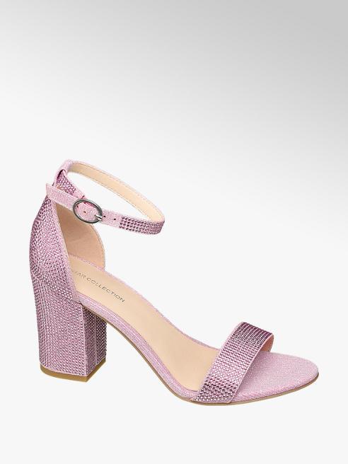 Star Collection Ružové sandále na podpätku Rita Ora