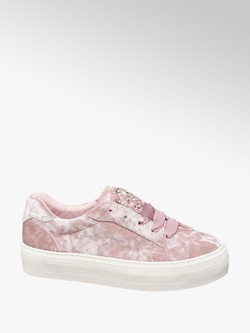 Graceland Rózsaszín bársony sneaker