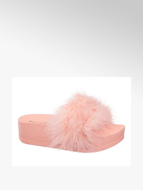 Catwalk Rózsaszín szőrös papucs