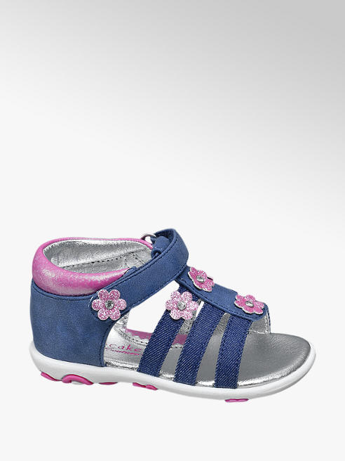 Cupcake Couture Sandalo in denim con fiori rosa
