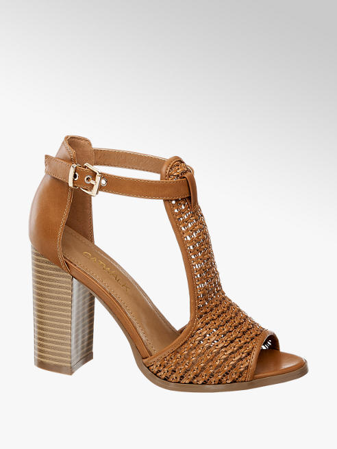 Catwalk Sandalo marrone con tacco largo