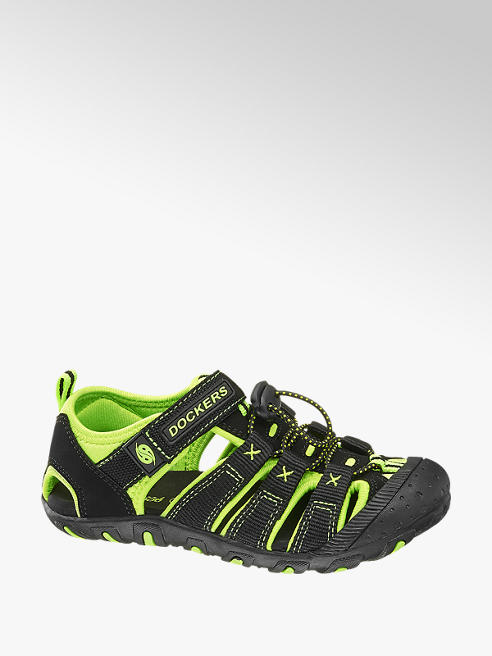 Dockers Sandalo nero e verde con velcro