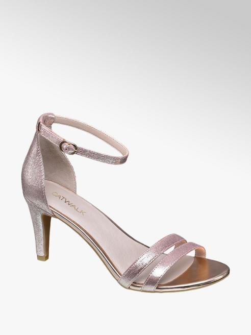 Catwalk Sandalo rosa dorato con cinturino alla caviglia