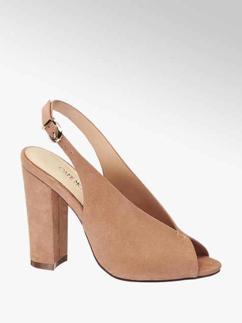 Sandalo taupe spuntato in vero cuoio