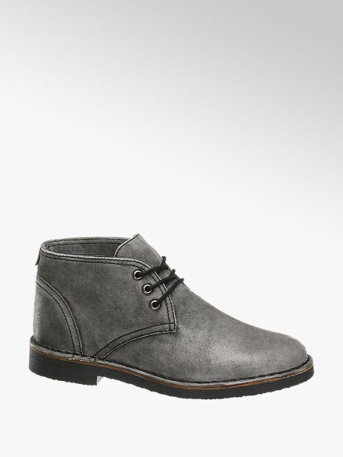 AM SHOE Sivá kožená členková obuv AM SHOE
