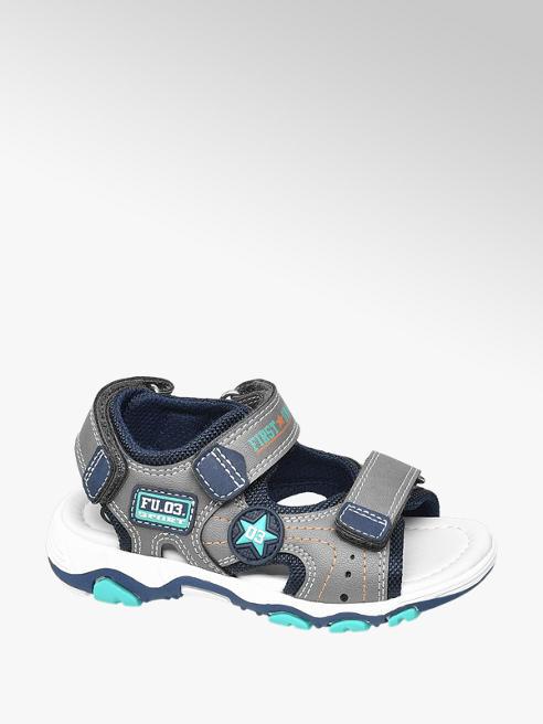 Bobbi-Shoes Sivo-modré sandále na suchý zips Bobbi Shoes