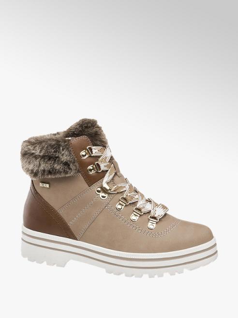 5th Avenue Sivobéžová kožená šnurovacia obuv so zipsom a TEX membránou 5th Avenue