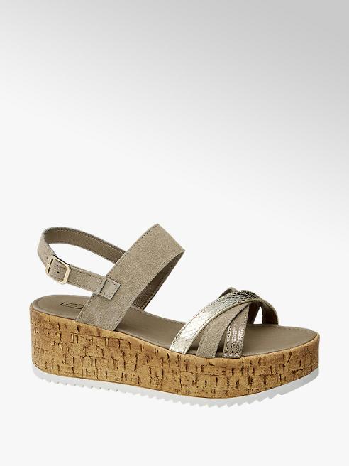 5th Avenue Sivobéžové kožené sandále na platforme 5th Avenue