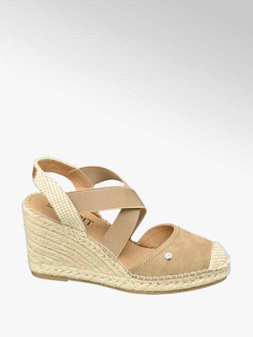 Esprit Sivobéžové sandále na klinovom podpätku Esprit