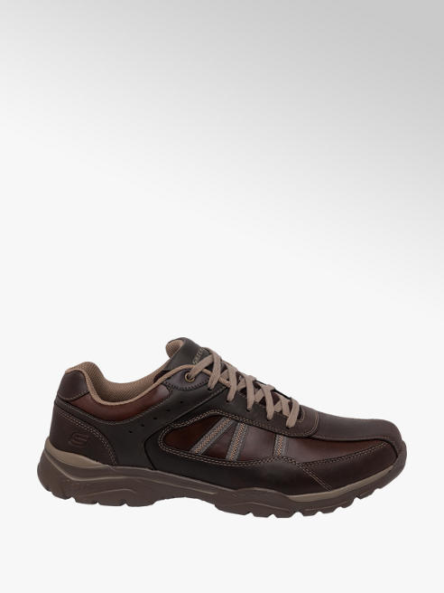 Skechers Mens Skechers Brown Leather Lace-up Casual Shoes