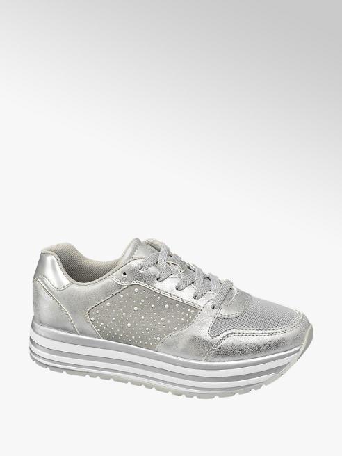 Graceland Sneaker argento con plateau