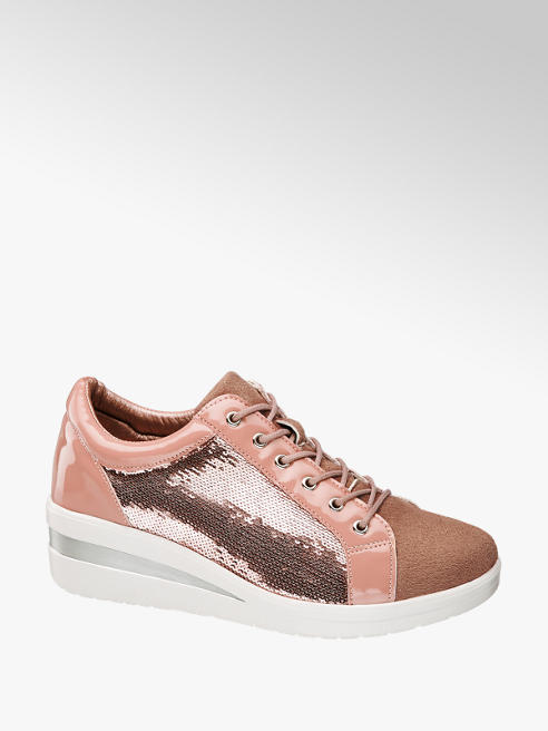 Easy Street Sneaker benessere rosa con paillettes