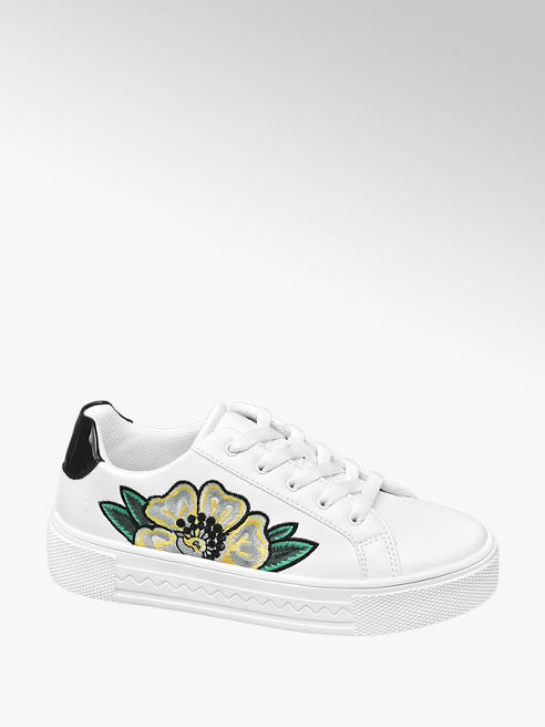 Graceland Sneaker bianca con dettaglio floreale