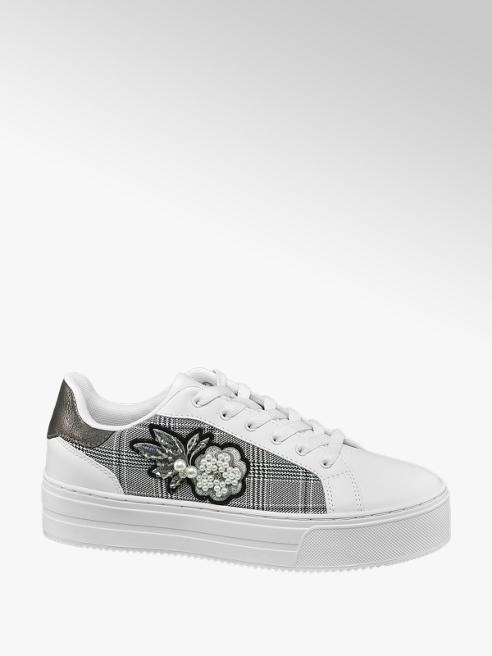 Graceland Sneaker bianca con dettaglio tartan