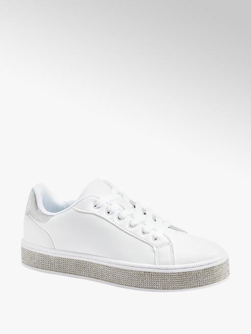 Graceland Sneaker bianca con strass sulla suola