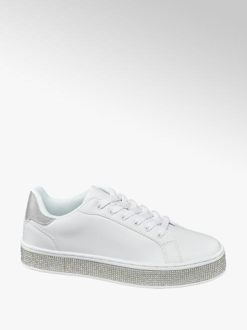 Catwalk Sneaker bianca con strass sulla suola