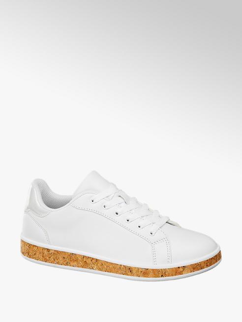 Graceland Sneaker bianca con suola effetto sughero
