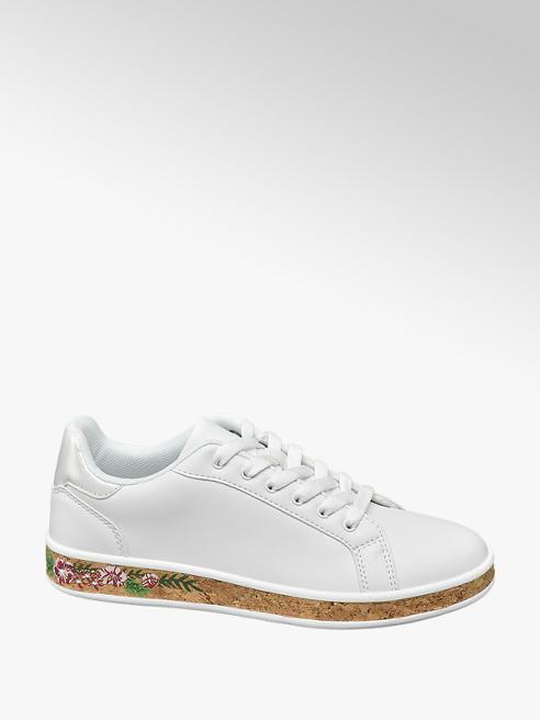 Graceland Sneaker bianca con suola in sughero