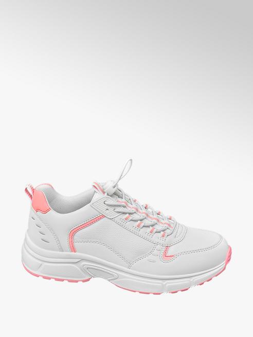 Graceland Sneaker bimateriale bianco e rosa