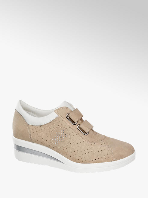 Easy Street Sneaker comfort beige con rialzo