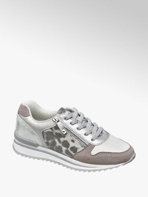 Graceland Sneaker grigia argentata con dettaglio animalier