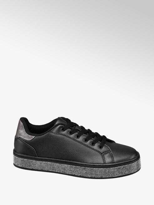 Catwalk Sneaker nera con strass sulla suola