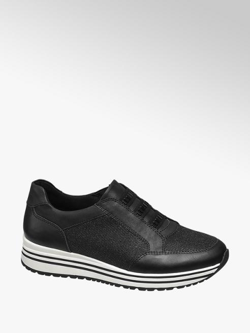 Venice Sneaker nera con suola alta
