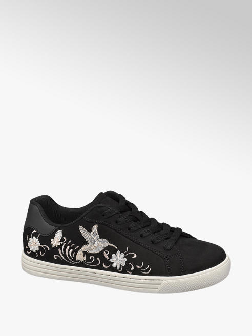 Graceland Sneaker nera floreale