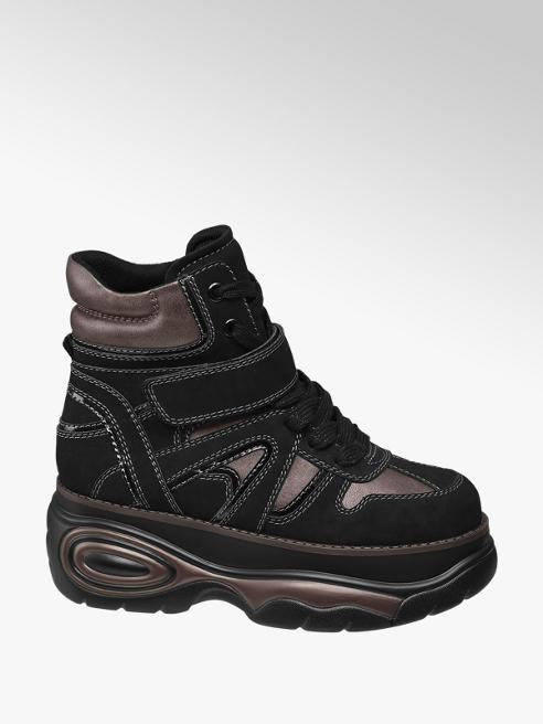 Catwalk Sneaker nero con suola alta