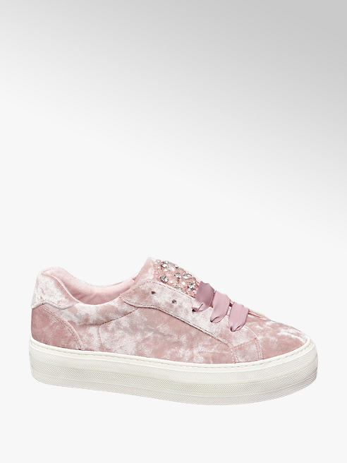Graceland Sneaker platform in tessuto rosa