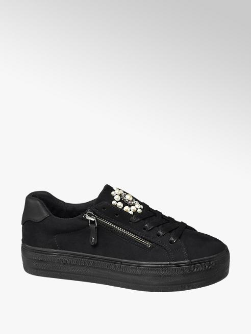 Graceland Sneaker platform nera con applicazioni gioiello