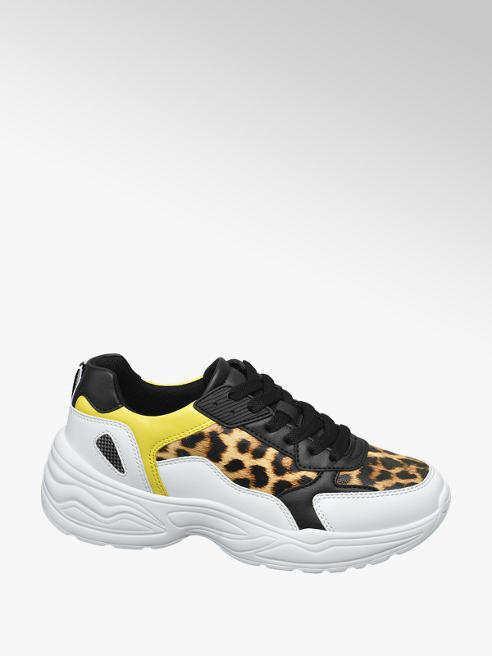 Star Collection Chunky Sneakers in Weiß mit Animal Print