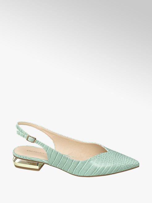 Star Collection Sling Ballerinas in Mint mit Animal-Print