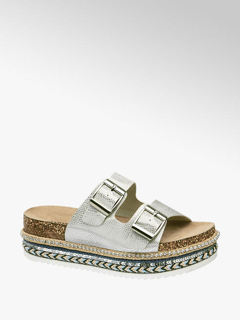 Catwalk Stříbrné pantofle na platformě Catwalk