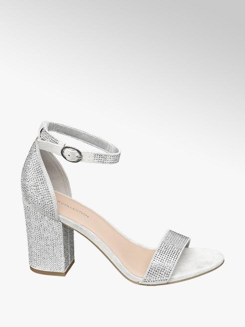Star Collection Stříbrné sandály na podpatku Rita Ora s kamínky
