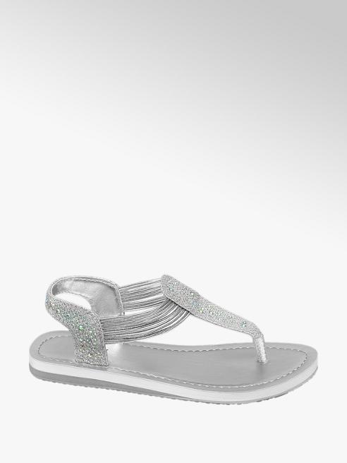 Graceland Strieborné sandále Graceland s kamienkami