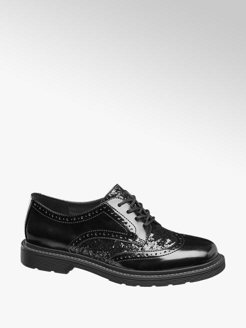 Catwalk Stringata dandy nera con dettaglio glitterato