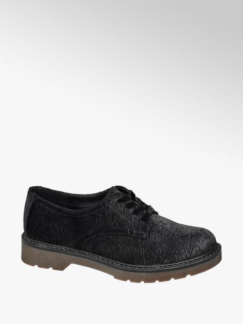 Graceland Stringata nera in velluto e suola in gomma