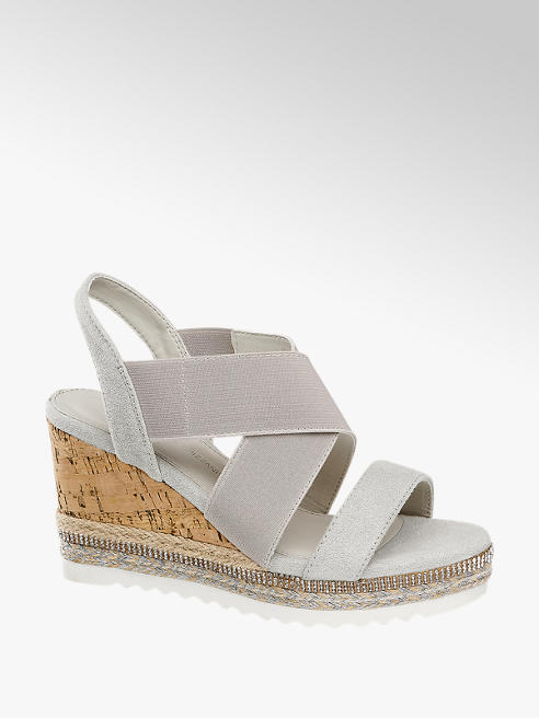 Claudia Ghizzani Světle šedé sandály na klínku Claudia Ghizzani