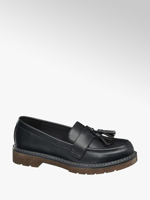 Graceland Black Chunky Tassel Loafers