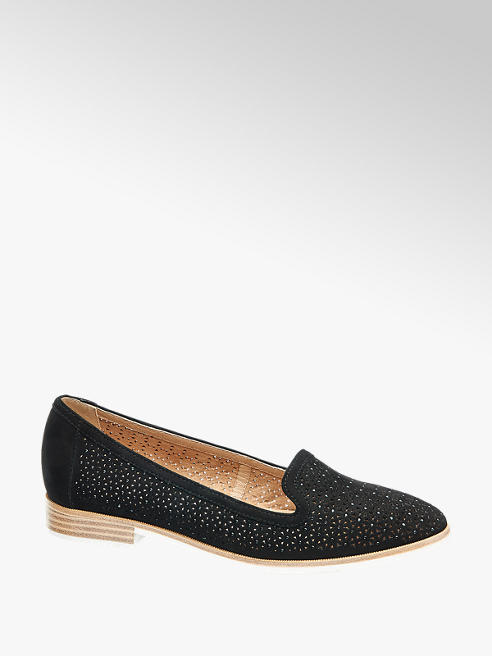5th Avenue Black Leather Floral Laser Cut Loafers