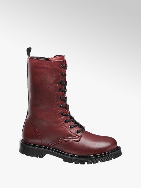 5th Avenue Tmavočervená kožená šnurovacia obuv so zipsom 5th Avenue