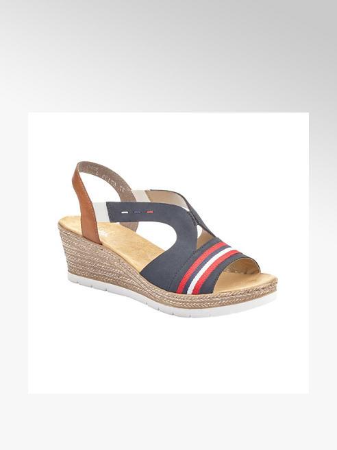 Rieker Tmavomodré komfortné sandále na klinovom podpätku Rieker