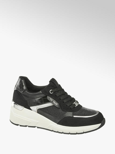Tom Tailor Sneaker in Schwarz mit Glanz Details