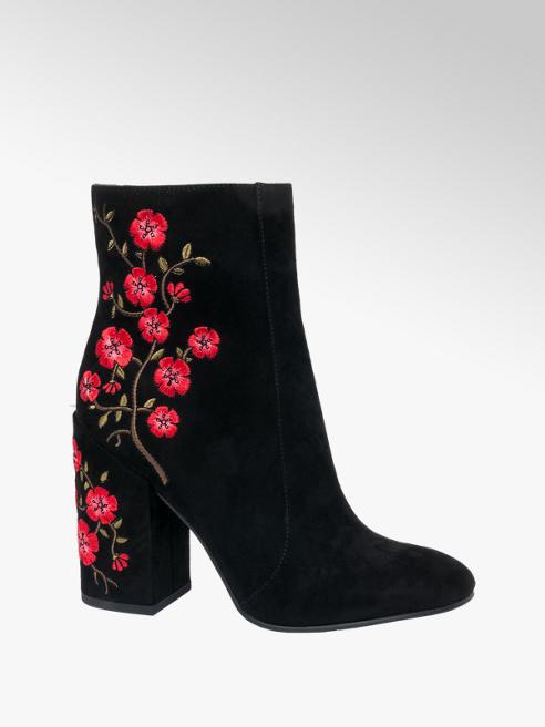 Catwalk Tronchetto nero con motivo floreale