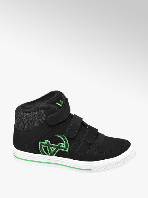 Vty Junior Boys VTY Black High-Top Touch Strap Trainers