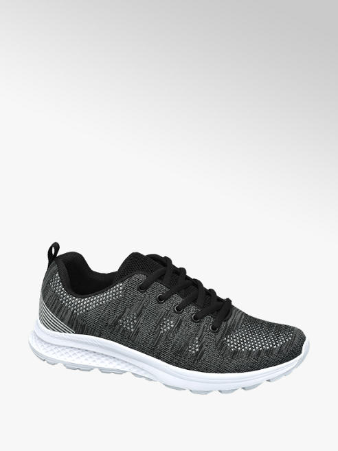 Vty Ladies VTY Charcoal Grey Lace-up Trainers