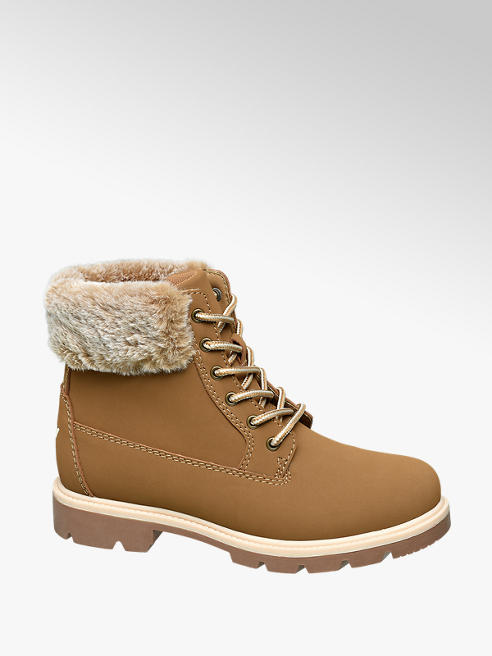 Vty Ladies Lace Up Fur Boots